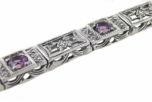 Art Deco Filigree Straightline Amethyst Bracelet in Sterling Silver - Item SSBR8 - Image 1