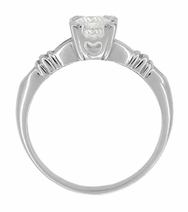 Art Deco Hearts and Clovers White Sapphire Engagement Ring in 14 Karat White Gold - Item R163W50WS - Image 1