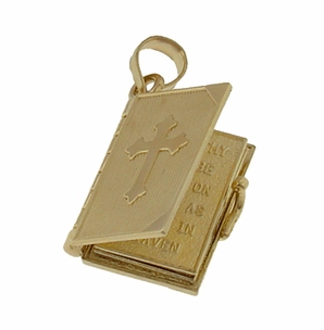 Moveable Lords Prayer Opening Book Charm in 14 Karat Gold - Christian Faith Pendant Jewelry - Item C578 - Image 1