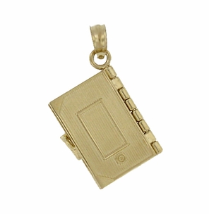 Moveable Lords Prayer Opening Book Charm in 14 Karat Gold - Click to enlarge