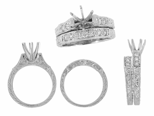 Art Deco Engraved Scrolls 3/4 Carat Diamond Engagement Ring Setting and Wedding Ring in 18 Karat White Gold - Click to enlarge