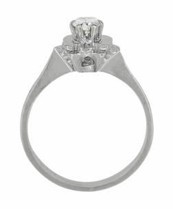 Buttercup Flower Antique Diamond Engagement Ring in 18 Karat White Gold - Item R1061 - Image 4