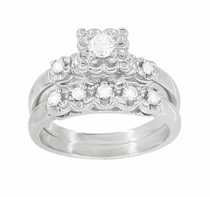 Retro Moderne Lucky Clover Diamond  Engagement Ring and Wedding Ring Set in 14 Karat White Gold - Item R674S - Image 1