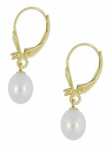 Art Deco Fleur De Lis Diamond and Pearl Drop Earrings in 14 Karat Gold - Item E161 - Image 1