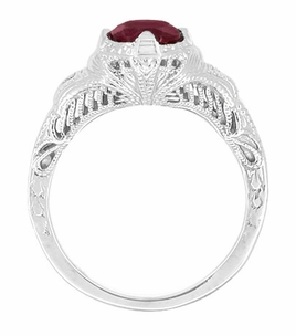 Art Deco Engraved Filigree Ruby Engagement Ring in Sterling Silver - Click to enlarge