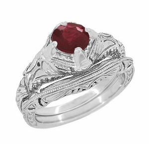 Art Deco Engraved Filigree Ruby Engagement Ring in Sterling Silver - Item SSR161R - Image 2