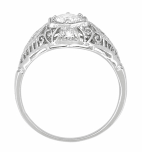 Edwardian White Sapphire Scroll Dome Filigree Engagement Ring in 14 Karat White Gold - Click to enlarge
