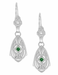 Art Deco Dangling Sterling Silver Emerald and Diamond Filigree Earrings