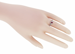 Filigree Art Deco Low Profile Ruby Promise Ring in Sterling Silver  - Item SSR1207R - Image 2