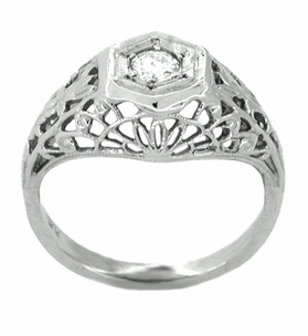 Art Deco Filigree Platinum and Diamond Engagement Ring - Item R150 - Image 1