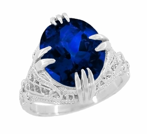 Art Deco Filigree Oval Lab Created Blue Sapphire Statement Ring in Sterling Silver | Claw Prong Engraved Setting - Item SSR157S - Image 1