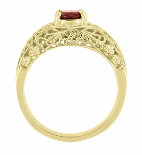 Edwardian Filigree Flowers Domed Almandite Garnet Engagement Ring in 14 Karat Yellow Gold - Click to enlarge