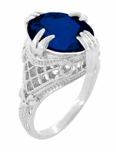 Art Deco Filigree Oval Lab Created Blue Sapphire Statement Ring in Sterling Silver | Claw Prong Engraved Setting - Item SSR157S - Image 2