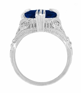 Art Deco Filigree Oval Lab Created Blue Sapphire Statement Ring in Sterling Silver | Claw Prong Engraved Setting - Item SSR157S - Image 3