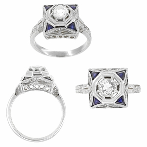 Art Deco Filigree Sapphires 1/2 Carat Diamond Engagement Ring in 14 Karat White Gold - Click to enlarge
