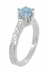 Art Deco Crown Filigree Scrolls 1 Carat Aquamarine Engraved Engagement Ring in Platinum - Item R199P1A - Image 1