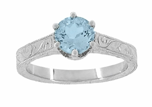 Art Deco Crown Filigree Scrolls 1 Carat Aquamarine Engraved Engagement Ring in Platinum - Item R199P1A - Image 4