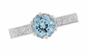 Art Deco Crown Filigree Scrolls 1 Carat Aquamarine Engraved Engagement Ring in Platinum - Click to enlarge