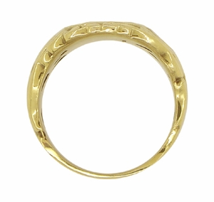 Mens Art Nouveau Oval Signet Ring in 14 Karat Yellow Gold - Click to enlarge