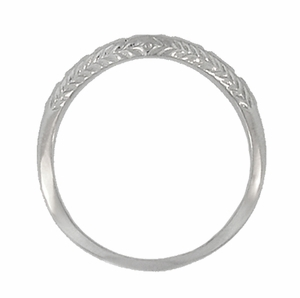 Art Deco Wheat and Olive Leaves Engraved Curved Wedding Band in Sterling Silver - Click to enlarge