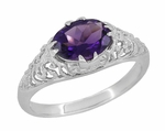 Edwardian Filigree Oval Amethyst Promise Ring in Sterling Silver