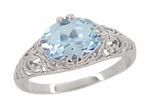 Edwardian Filigree Oval Blue Topaz Promise Ring in Sterling Silver