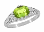Filigree Edwardian East West Oval Peridot Promise Ring in Sterling Silver