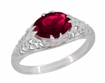 Oval Ruby Filigree Edwardian Engagement Ring in Sterling Silver