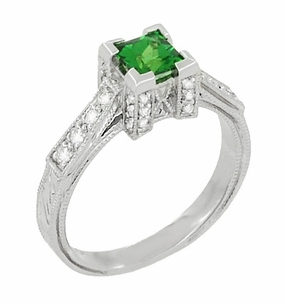 Art Deco 1/2 Carat Princess Cut Tsavorite Garnet and Diamond Engagement Ring in Platinum - Click to enlarge
