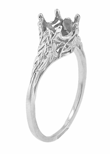 Art Deco 3/4 Carat Crown of Leaves Filigree Engagement Ring Setting in Platinum - Item R299P - Image 2
