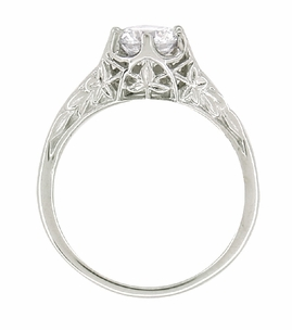 Art Deco 3/4 Carat Crown of Leaves Filigree Engagement Ring Setting in Platinum - Item R299P - Image 5