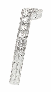 Art Deco Diamond Curved Engraved Wheat Wedding Ring in 18 Karat White Gold - Click to enlarge