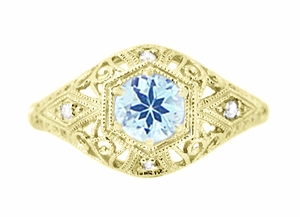 Edwardian Aquamarine and Diamonds Scroll Dome Filigree Engagement Ring in 14 Karat Yellow Gold - Click to enlarge