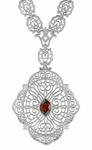 Edwardian Filigree Drop Pendant Necklace with Almandite Garnet and Diamond in Sterling Silver