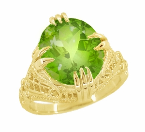Peridot Art Deco Filigree Ring in 14 Karat Yellow Gold - Item R157YPER - Image 1