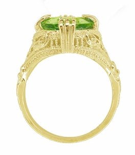 Peridot Art Deco Filigree Ring in 14 Karat Yellow Gold - Click to enlarge