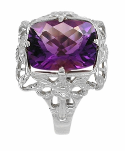 Art Deco Amethyst Filigree Ring in 14 Karat White Gold - Click to enlarge