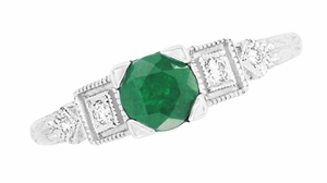Emerald and Diamond Art Deco Engagement Ring in 18 Karat White Gold - Click to enlarge
