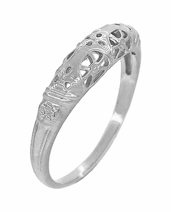 Art Deco Filigree Wedding Ring in 14 Karat White Gold - Item WR428W - Image 2