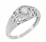 Art Deco Filigree Diamond Engagement Ring in 14 Karat White Gold