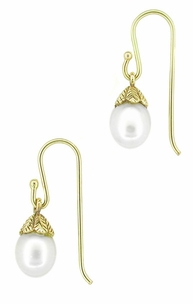 Victorian Engraved Leaves Pearl Drop Earrings in 14 Karat Yellow Gold - Item E134 - Image 1