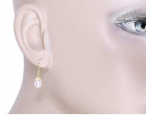 Victorian Engraved Leaves Pearl Drop Earrings in 14 Karat Yellow Gold - Click to enlarge
