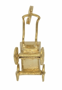Vintage Moveable Baby Carriage Charm in 14 Karat Yellow Gold - Click to enlarge