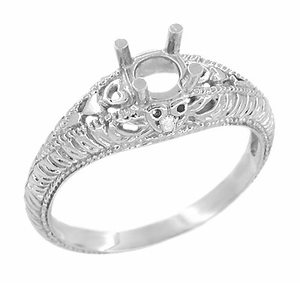 Art Deco Hearts and Diamonds 1/3 Carat Diamond Filigree Engagement Ring Setting in 14 Karat White Gold - Item R627 - Image 1