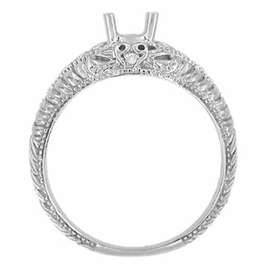 Art Deco Hearts and Diamonds 1/3 Carat Diamond Filigree Engagement Ring Setting in 14 Karat White Gold - Item R627 - Image 3