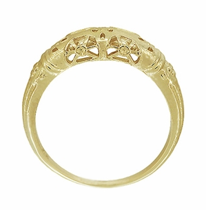 Art Deco Filigree Wedding Ring in 14 Karat Yellow Gold - Item WR428Y - Image 4