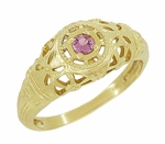 Art Deco Filigree Pink Sapphire Ring in 14 Karat Yellow Gold