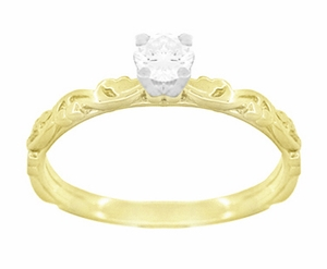 Art Deco Scrolls White Sapphire Engagement Ring in 14 Karat Yellow Gold - Click to enlarge
