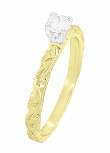 Art Deco Scrolls White Sapphire Engagement Ring in 14 Karat Yellow Gold - Item R639YWS - Image 2
