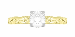 Art Deco Scrolls White Sapphire Engagement Ring in 14 Karat Yellow Gold - Item R639YWS - Image 3